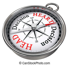 heart versus head decision concept compass - heart versus...