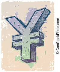 Hand drawn vector sign of Japanese yen