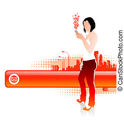 Girl with cellphones on a cityscape landscape - vector...