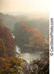 River Lausitzer Neisse - Autumn landscape with river...