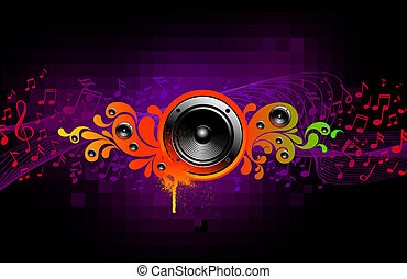 Abstract vector musical illustration with loudspeakers