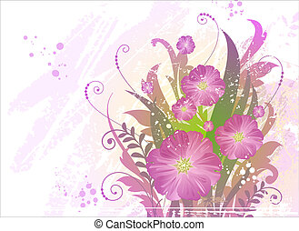 Summer grunge background with beautiful flowers