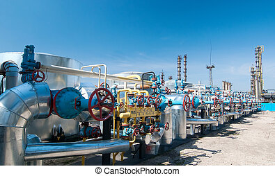 Gas industry. row gas valves - Gas industry. row red gas...