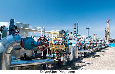 gas, industria, fila, gas, válvulas