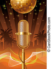 Retro microphone & disco ball on a tropical cityscape - vector illustration