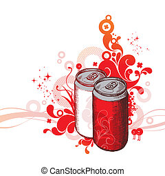 Vector ornate hand drawn illustration - cola cans