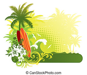 Vector illustration - surfboard on tropical landscape