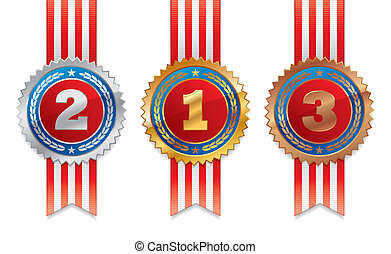 Three americans vector medals with ribbon - gold, silver and bronze