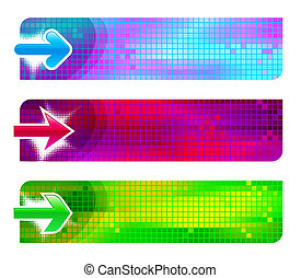 Three vector abstract banners with arrows