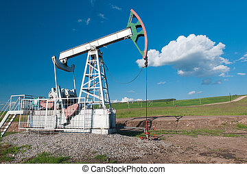 Oil pump on a green field