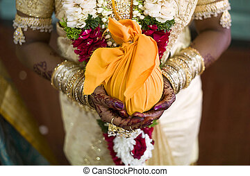 Indian bride with henna design - Indian bride with henna...
