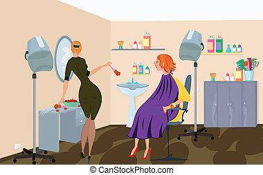 Beauty salon  worker is applying hair dye