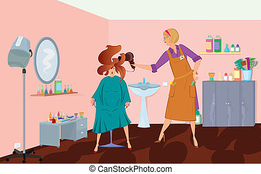 Beauty salon professional is blow drying client's hair