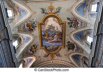 Amelia (Terni, Umbria, Italy) - Cathedral interior, ceiling...