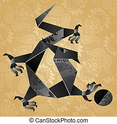 Origami black water dragon on a gold background