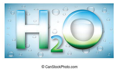 Water formula and drops on background - Stylized water...