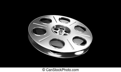 Spinning Film Reel - Great for cinema concept.Include alpha...
