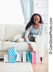 Woman happy about her shopping