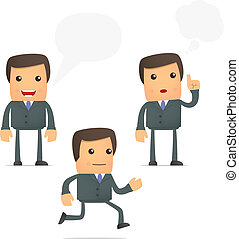 set of funny cartoon businessman in various poses for use in...