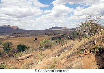African savanna with acacia trees and hills in the...