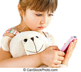 Little girl teddy bear phone - Sweet little girl cuddling...