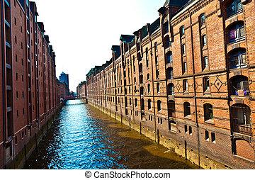 Speicherstadt in Hamburg - canal in famous old Speicherstadt...