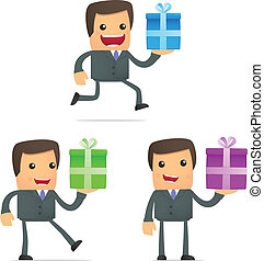 set of funny cartoon businessman