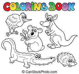 coloration, Livre, Australien, animaux, 1