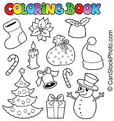 Coloring book Christmas images 1 - vector illustration.