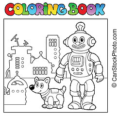 Coloring book robot theme 1 - vector illustration.