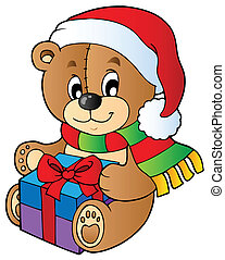 Christmas teddy bear with gift - vector illustration