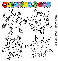 Coloring book cartoon snowflakes 1 - vector illustration.
