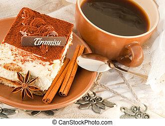 bolo, tiramisu, copo, quentes, café