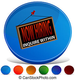 Now Hiring Sign Gemstone Button Set - An image of a Now...