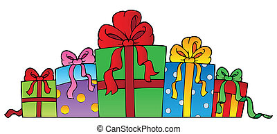 Various decorated gifts 1 - vector illustration
