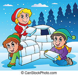 Winter scene with kids 1 - vector illustration