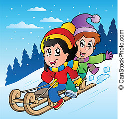 Winter scene with kids on sledge - vector illustration