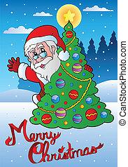 Merry Christmas card with Santa 1