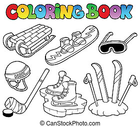 Coloring book winter sports gear - vector illustration.