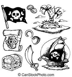 Drawings with pirate theme 1 - vector illustration