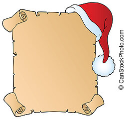 Letter with Christmas hat 1 - vector illustration.