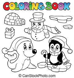 Coloring book wintertime animals 3 - vector illustration.