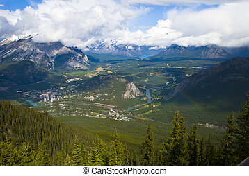 Banff in the Canadian Rockies - Aerial view of Banff town...