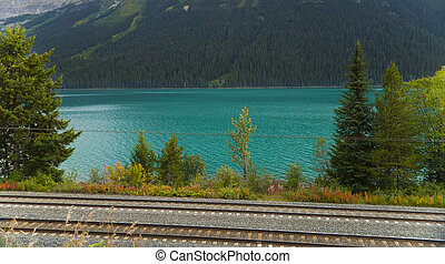 Railtrack in the Canadian Rockies - Railway lines running...