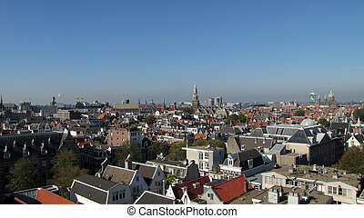 Bird view old Amsterdam, Holland - The old centre of...
