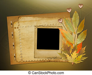 Grunge papers design in scrapbooking style with foliage and hearts