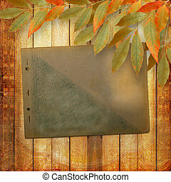 Grunge papers design in scrapbooking style with foliage and page album