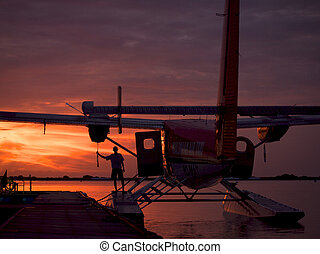 Early morning fueling of a Maldivian Air Taxi Twin Otter
