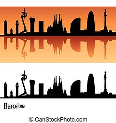 Barcelona Skyline in orange background in editable vector...