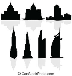 buildings art black vector silhouette on white